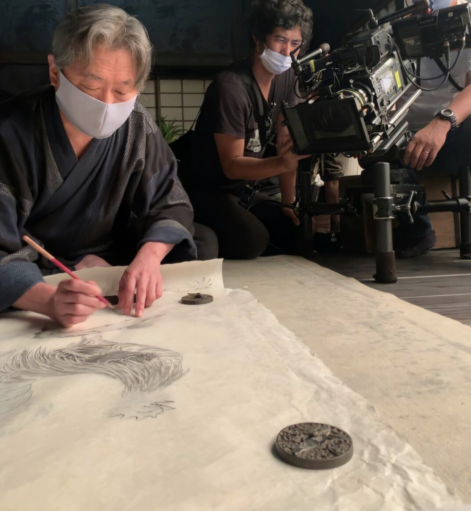 """Photographed image of ink painting production and drawing of NHK New Year period drama """"Rising Jakuchu""""."""